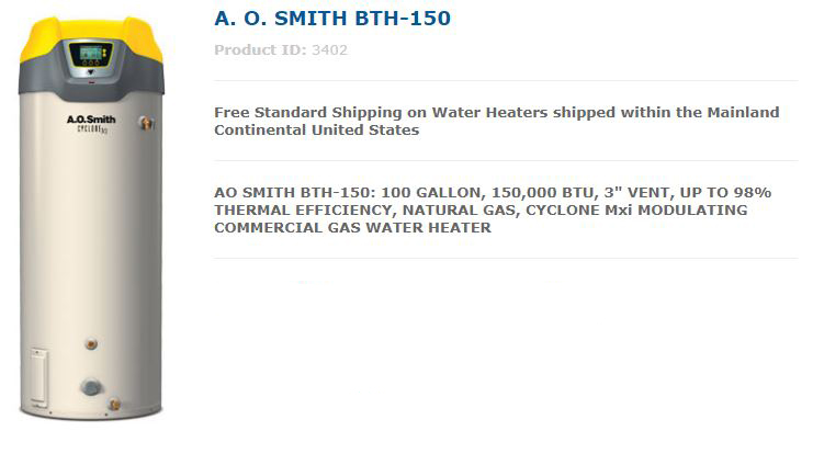 AO Smith BTH-150 Water Heater