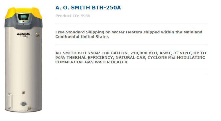 AO Smith BTH 250A Commercial Water Heater Sales
