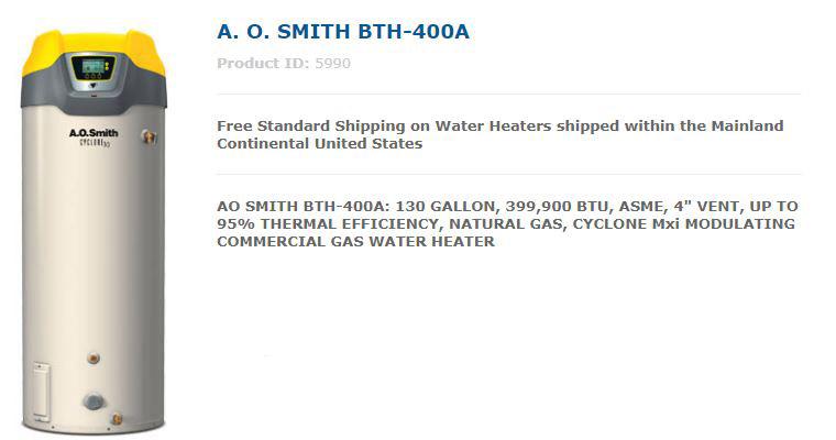 AO Smith BTH-400A Water Heater