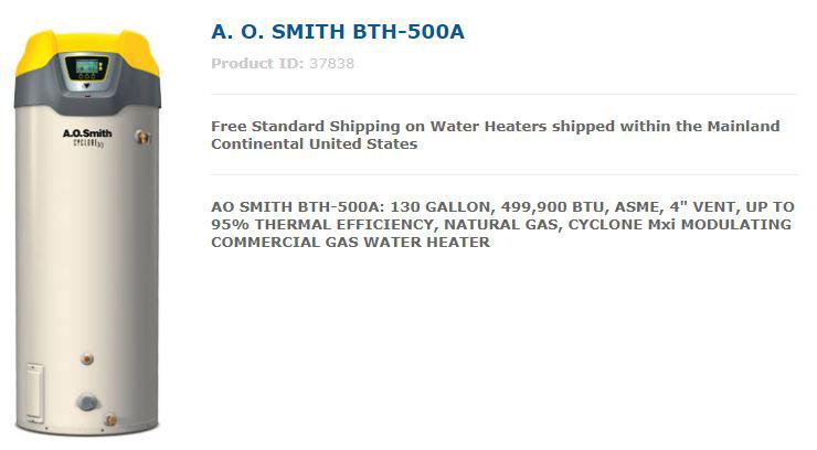 AO Smith BTH-500A Water Heater
